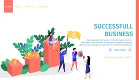 Successful Business People Work Horizontal Banner stock illustration