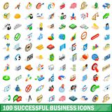 100 successful business icons set, isometric style. 100 successful business icons set in isometric 3d style for any design illustration stock illustration