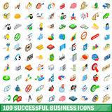 100 successful business icons set, isometric style. 100 successful business icons set in isometric 3d style for any design vector illustration Royalty Free Stock Photos