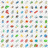 100 successful business icons set, isometric style Stock Photos