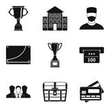 Successful business icons set, simple style. Successful business icons set. Simple set of 9 successful business vector icons for web isolated on white background Royalty Free Stock Images