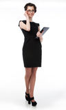 Successful business lady in glasses and black lapt Royalty Free Stock Photography