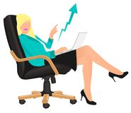 Successful vector business lady showing profit sitting on director`s chair. Excited by company success, business development, good royalty free illustration