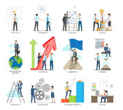 Successful Business Making Concept Vector Poster. People working together and along, creating good ideas, making agreements, planning deals and searching new Stock Photography
