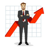 Successful business man with arms folded. Financial success bar graph growing up. Full length illustration of successful business man with arms folded. Financial Stock Photos