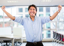 Successful business man with arms up Royalty Free Stock Photo