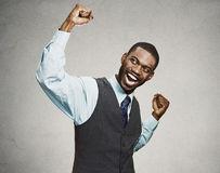 Successful business man celebrates victory Stock Photo