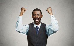 Successful business man celebrates victory Royalty Free Stock Image