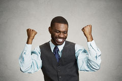 Successful business man celebrates victory Stock Image