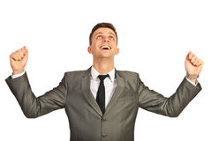 Successful business man cheering Stock Images