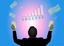 Successful business man with graph and money flying Royalty Free Stock Image