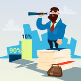 Successful Business Man Hold Binocular Finance Success Graph. Flat Vector Illustration Royalty Free Stock Photography