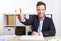 Successful business man holding Stock Photo