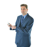 Successful Business man holding a smart phone. Business man holding a smart phone Stock Image