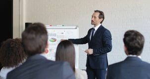 Successful Business Man Leading Presentation On Conference Meeting, Businesspeople Team Listening On Training Seminar