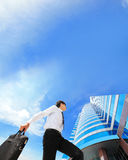 Successful business man outdoors Next to Office Building Royalty Free Stock Images