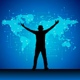 Successful business man raising hand in front of  world map Stock Photography