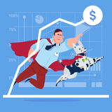 Successful Business Man In Red Cape With Robot Dog Over Finance Graph Up Stock Photos