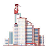 Successful business man standing at skyscraper top. And looking through binoculars. Leader and leadership concept. Modern flat style thin line vector Royalty Free Stock Photos