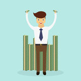 Successful business man standing to a huge pile of money. Business character scene. Vector Illustration Stock Photography