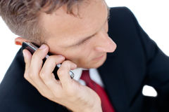 Successful business man talking on phone  Stock Images