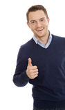 Successful business man with thumbs up. Happy & smiling royalty free stock photos