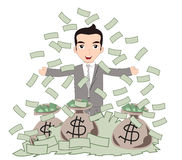 Successful Business Man under Money Rain Royalty Free Stock Photography