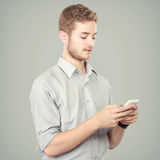 Successful business man using mobile phone. Portrait of Successful business man using mobile phone Stock Image
