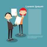 Successful Business Man And Woman Hold Contract Sign Document Stock Photos