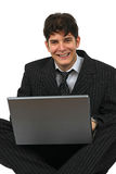 Successful business man working with laptop Stock Photos