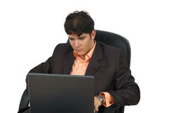 Successful business man working with laptop Royalty Free Stock Photo