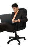 Successful business man working with laptop Royalty Free Stock Image