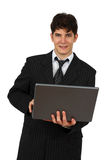 Successful business man working with laptop stock photo