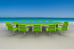 Successful business meeting. 3D rendering  of a Meeting table and chairs in the water of a Caribbean beach Stock Photography