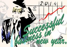 Successful business in the new year. (Vector) Royalty Free Stock Image