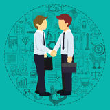 Successful business partners shaking hands with business doodles background. Stock Photos
