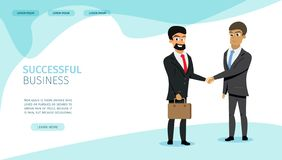Successful Business Partners Vector Web Page stock illustration