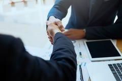 Successful business peolple handshaking after good deal. Business partnership meeting concept. Image businessmans handshake. Successful business peolple Stock Photo