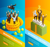 Successful Business People Celebration Isometric Banners stock illustration