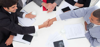 Successful business people closing a deal