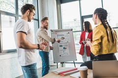 Successful business people discussing charts in modern. Light office royalty free stock photography