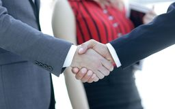 Successful business people handshaking after good deal. Stock Photography