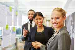 Successful business people shake hands. After business meeting Stock Images