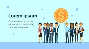 Successful Business People Team Holding Golden Coin Finance Success Over Background With Copy Space. Flat Vector Illustration Royalty Free Stock Photo
