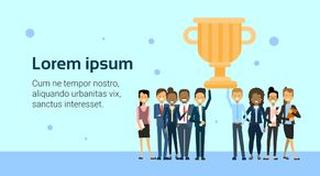 Successful Business People Team Holding Golden Cup Over Background With Copy Space. Flat Vector Illustration Royalty Free Stock Photos