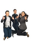 Successful business people team jumping Stock Image