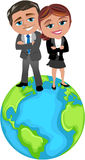 Successful Business People on the top of the World royalty free illustration