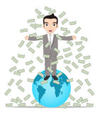 Successful Business People on the top of the World and money rain. Business People on the top of the World and money rain Stock Photo
