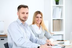 Successful business people working at meeting in office stock images