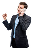 Successful business on the phone, businessman in a suit talking Royalty Free Stock Image